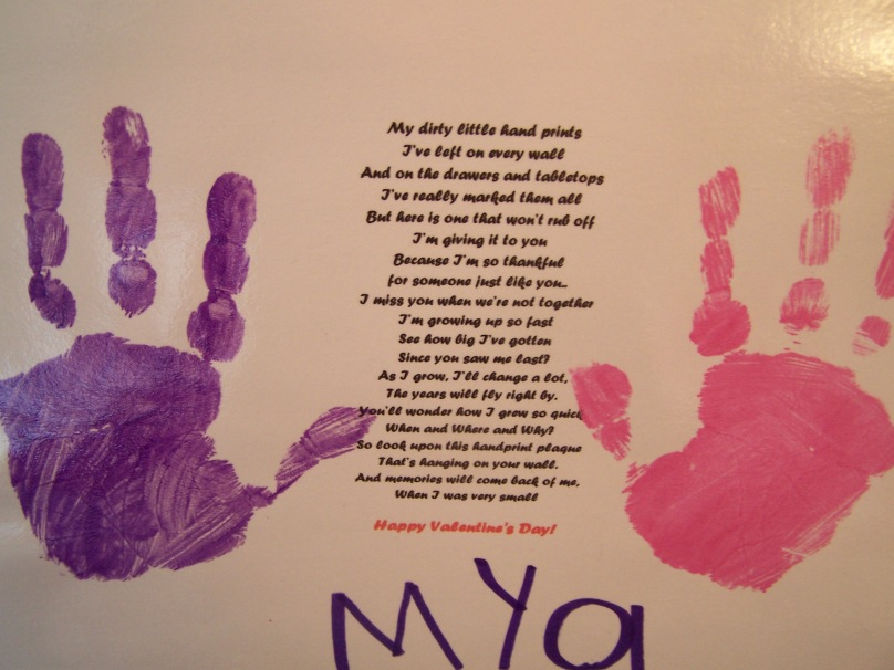 our daughter gave us this beautiful poem with her hand prints on it and yes there was water works those darn words were so beautiful and true