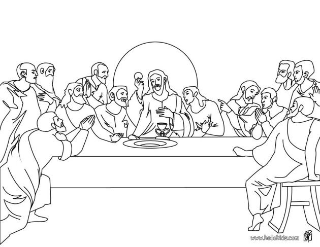 the last supper coloring page - holy thursday holy family catholic community
